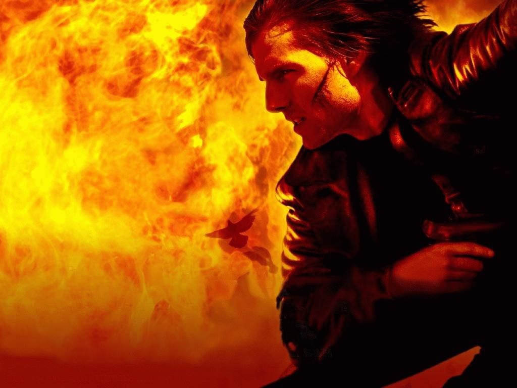 Tom Cruise Ethan Hunt Flames Wallpaper 1024x768