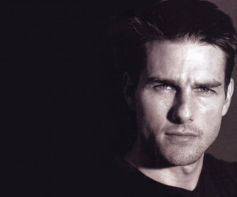 Tom Cruise Face Close Up Black Wallpaper