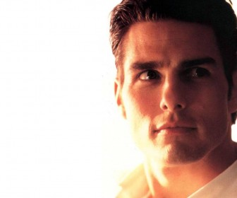 Tom Cruise Face Close Up White Wallpaper