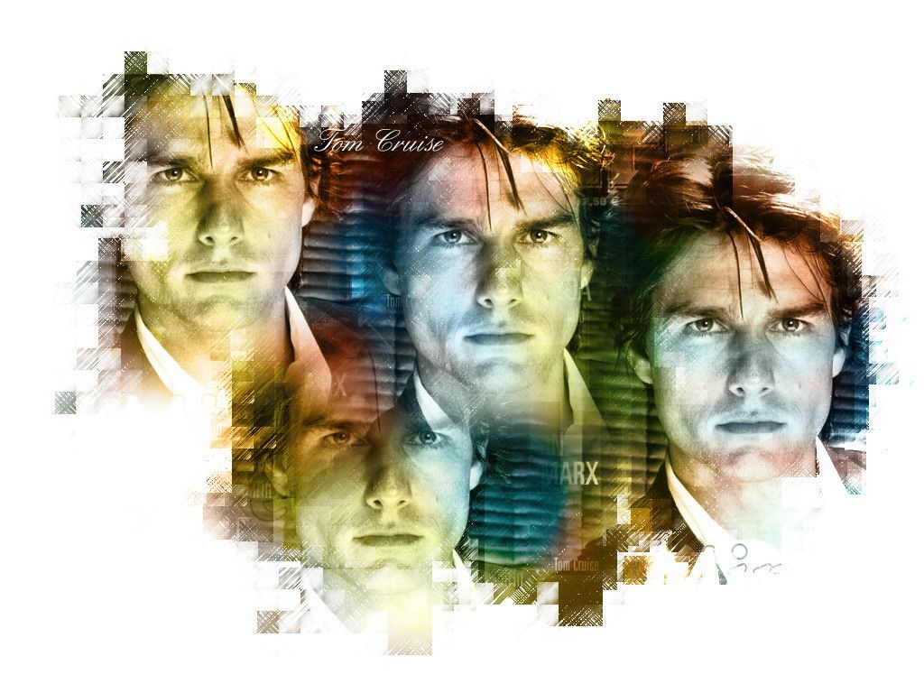 Tom Cruise Face Collage Wallpaper 1024x768