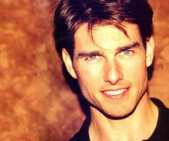 Tom Cruise Face Portrait Orange Background Wallpaper