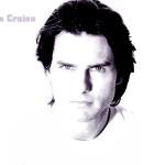 Tom Cruise Face Portrait White Wallpaper