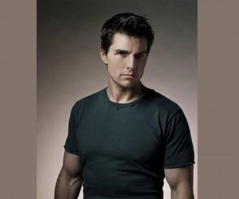 Tom Cruise Gray Shirt Portrait Wallpaper