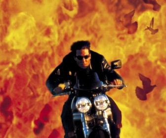 Tom Cruise Motorcycle And Flames Background Wallpaper