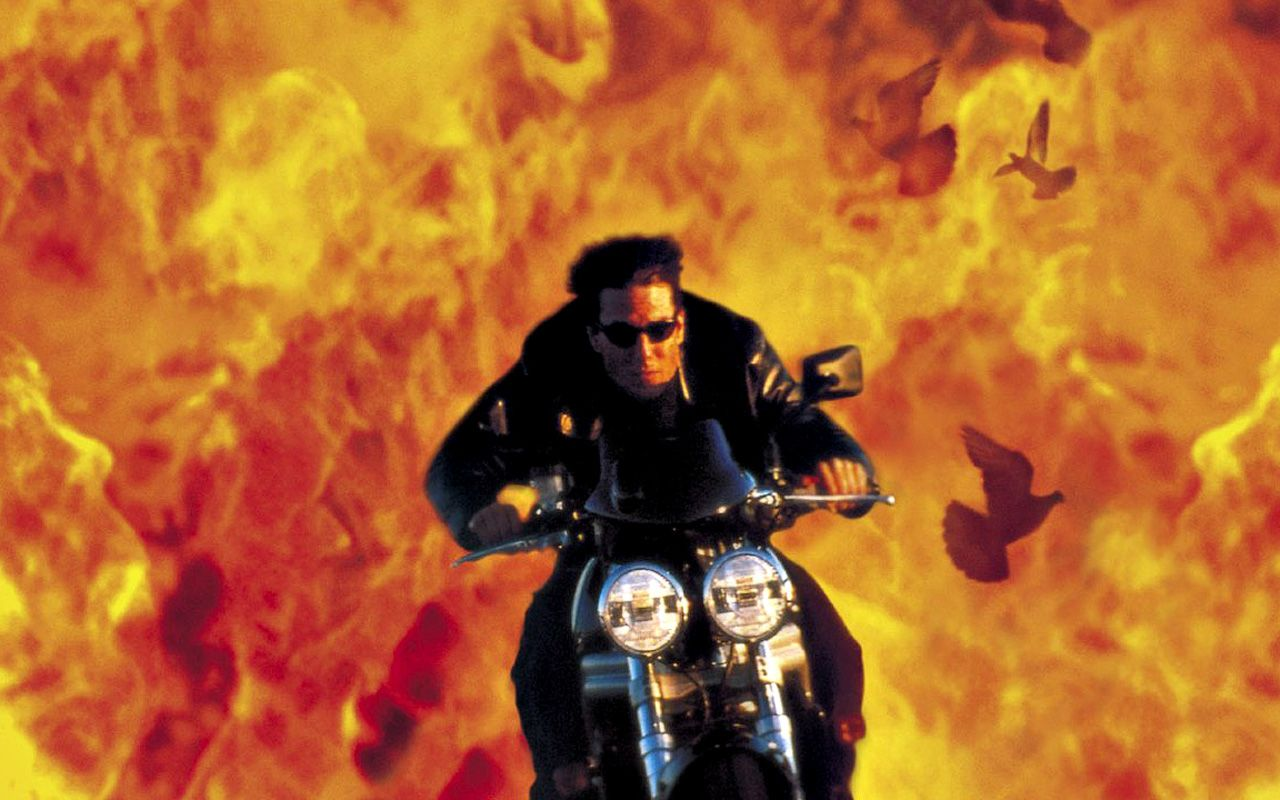 Tom Cruise Motorcycle And Flames Background Wallpaper 1280x800