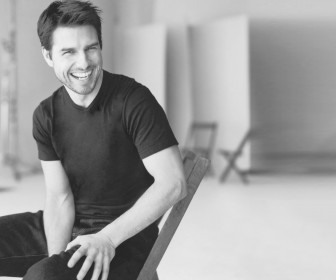 Tom Cruise On Chair Monochrome Wallpaper